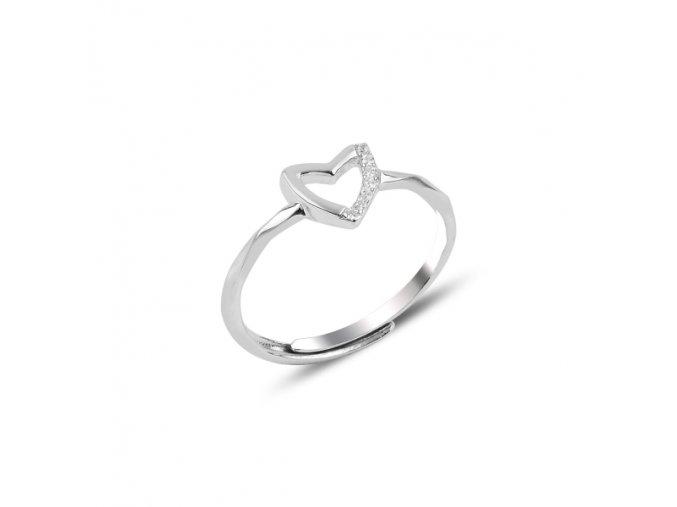 Strieborný dámsky prsteň vzor Srdce  Ag 925/1000 Rh: 1,44 g
