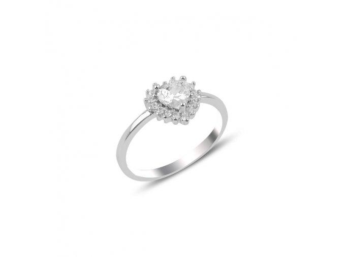 Strieborný dámsky prsteň so zirkónmi  Ag 925/1000 Rh: 1,63 g