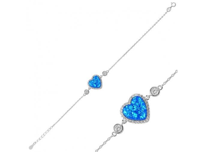 Strieborný dámsky náramok s modrým opálom v tvare srdca