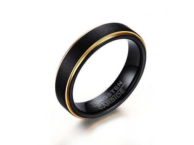 Volfrámový prsteň čierny so zlatými pruhmi leštený