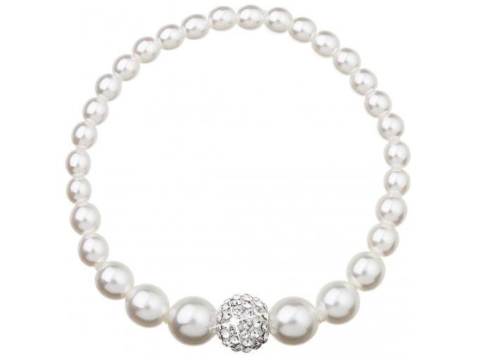 Perlový náramok Swarovski biely s guličkou