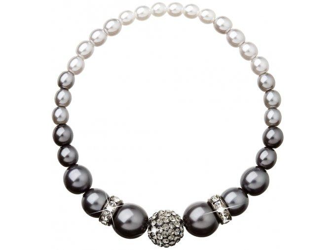 Perlový náramok so Swarovski Crystals šedý