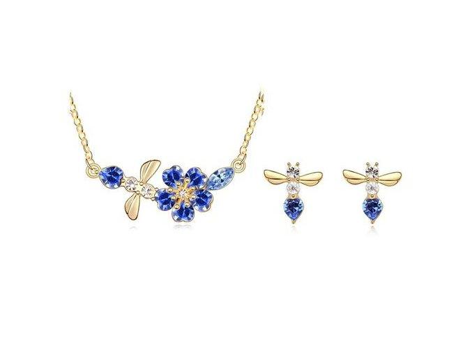 Set Letiaci motýľ s modrými kryštálmi 2193