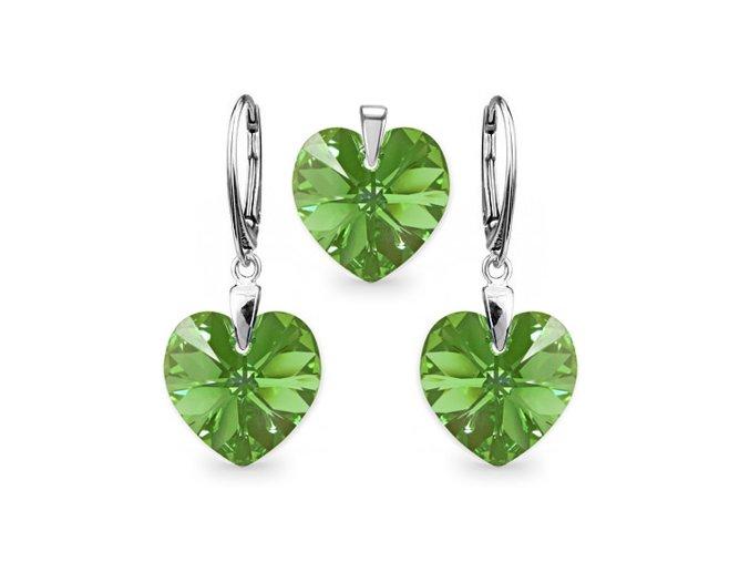 Strieborný set SWAROVSKI ELEMENTS v tvare srdca zelená farba
