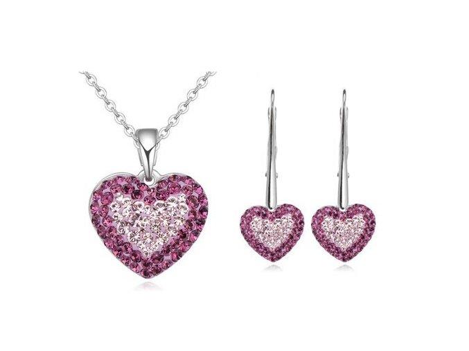Set Swarovski vykladané srdcia tmavo ružová farba