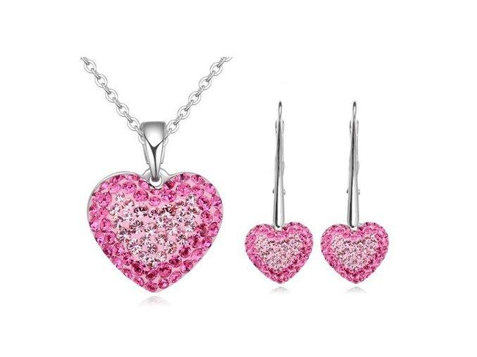 Set Swarovski vykladané srdcia ružová farba