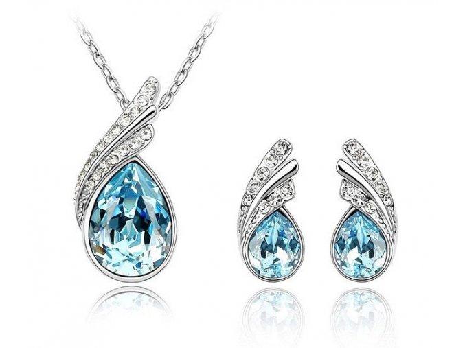 Set Slza - Dvojdielna dámska súprava šperkov modrá farba