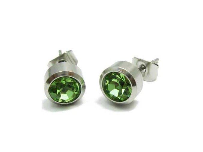 Náušnice so zeleným zirkónom