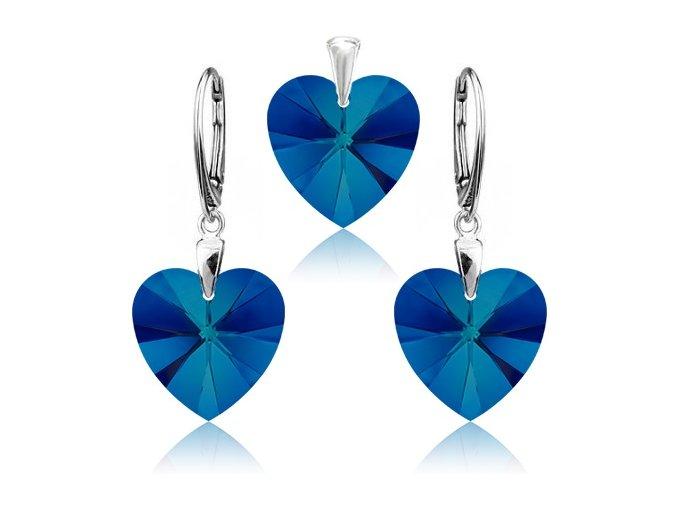 Strieborný set SWAROVSKI ELEMENTS v tvare srdca modrá farba
