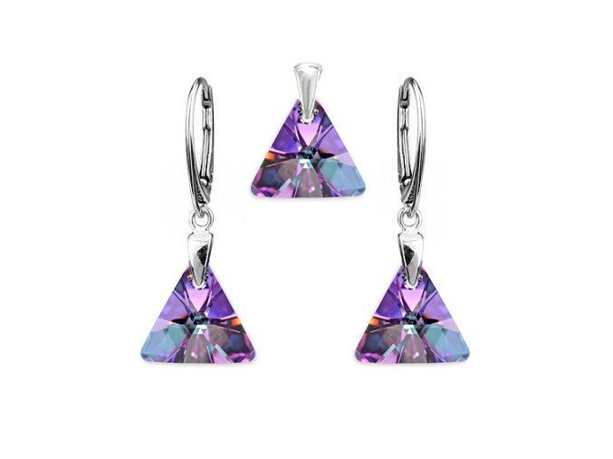 Strieborný set SWAROVSKI ELEMENTS v tvare trojuholníka fialová farba