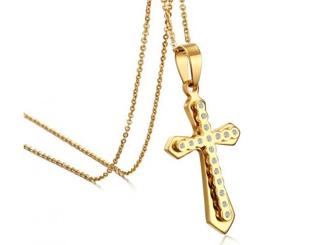 Prívesok krížik zircon so zirkónmi zlatá farba