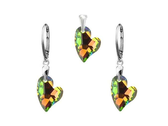 Exkluzívny set oddané srdce zeleno oranžový