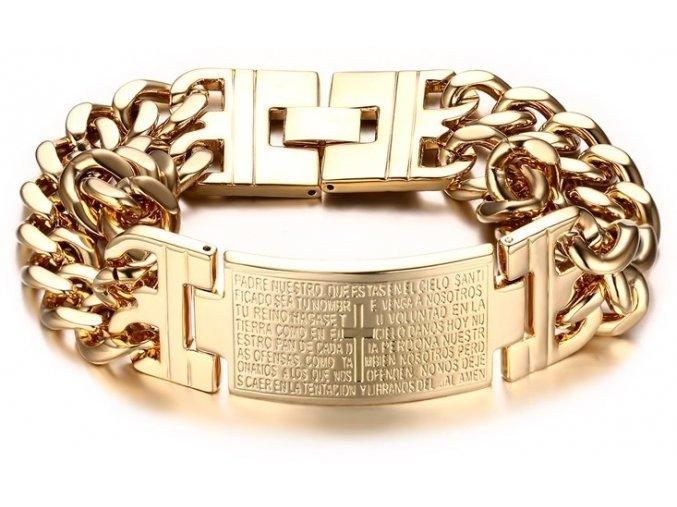 Luxusny naramok z chirurgickej ocele v zlatom prevedeni s krizom a modlitbou