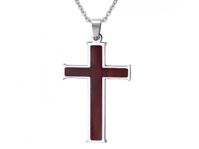 Prívesok krížik s retiazkou - drevený vzhľad strieborná farba