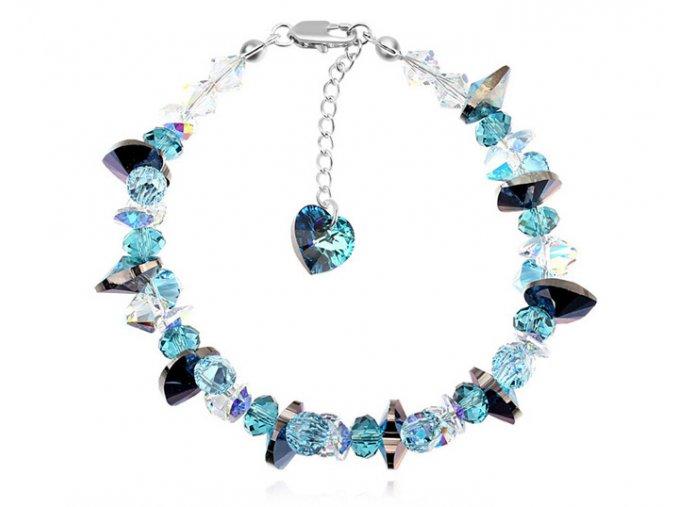 Exkluzívny náramok Made with Swaroski crystals - Blue