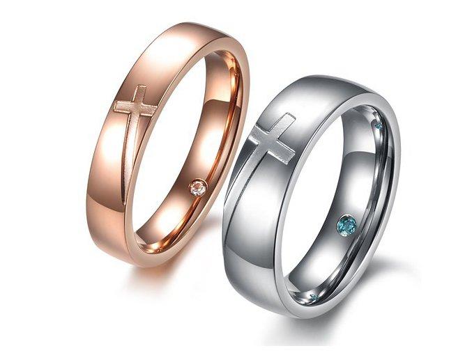 Prstene pre dvoch s krížom 2ks