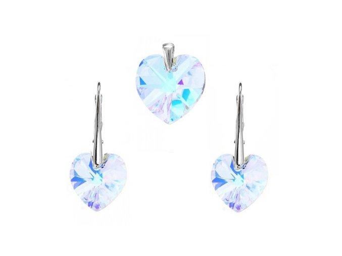 Prívesok a náušnice srdce Swarovski Crystals svetlo modrá farba