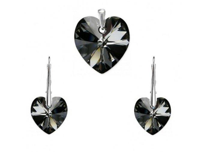 Prívesok a náušnice srdce Swarovski Crystals čierna farba