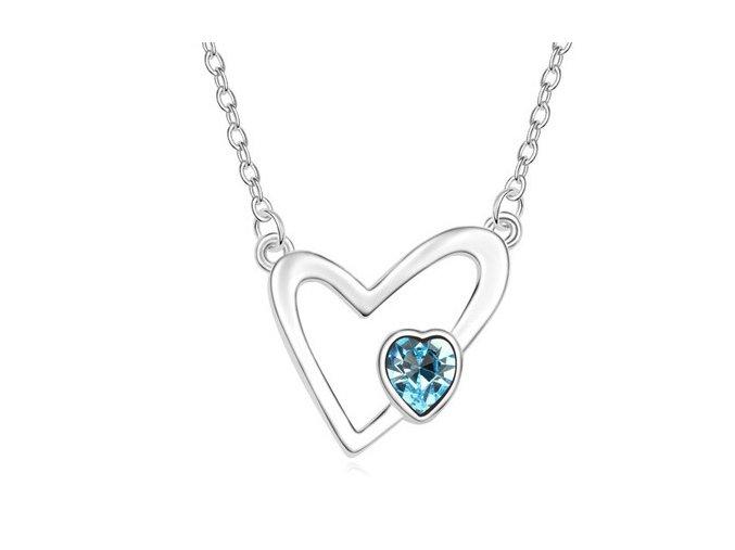 Náhrdelník v tvare srdca Blue Crystal