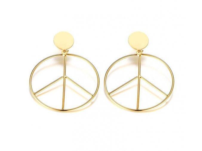 Okrúhle náušnice Peace - zlatá farba
