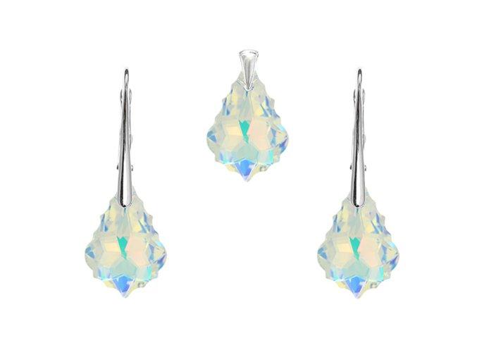 Prívesok a náušnice Barok Made With Swarovski Crystals s modrým odleskom