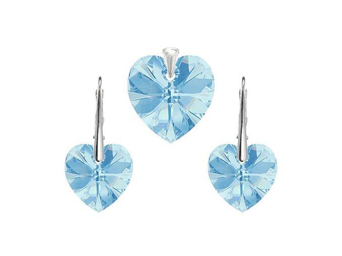 Prívesok a náušnice srdce Made with Swarovski Crystals - svetlo modrá farba