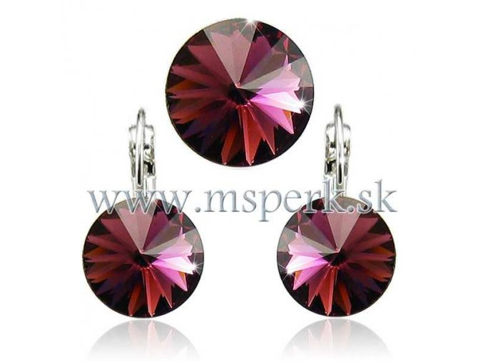 Set SWI crystal v tvare kruhu 12mm ružová farba