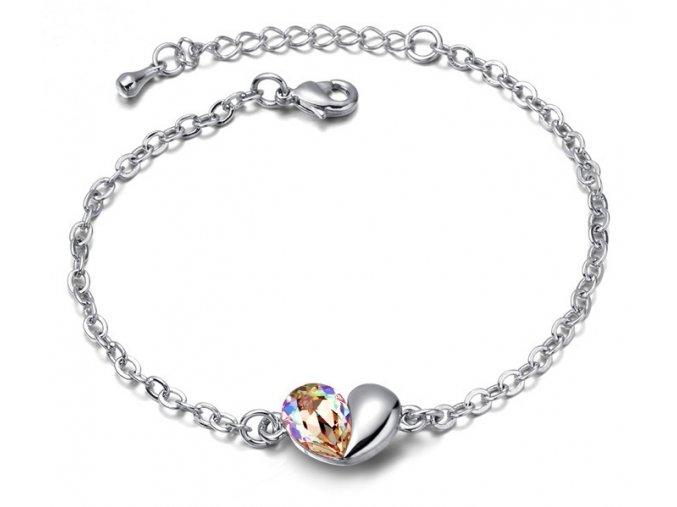 Dámsky náramok Rozdelené srdce Crystal Golden
