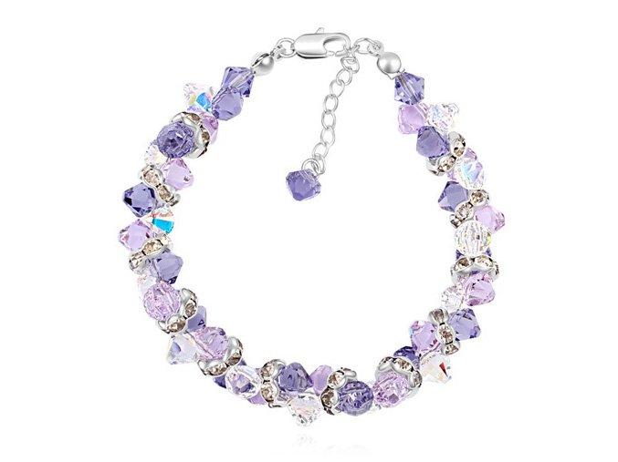 Elegantný dámsky náramok s kryštálmi Crystal Purple