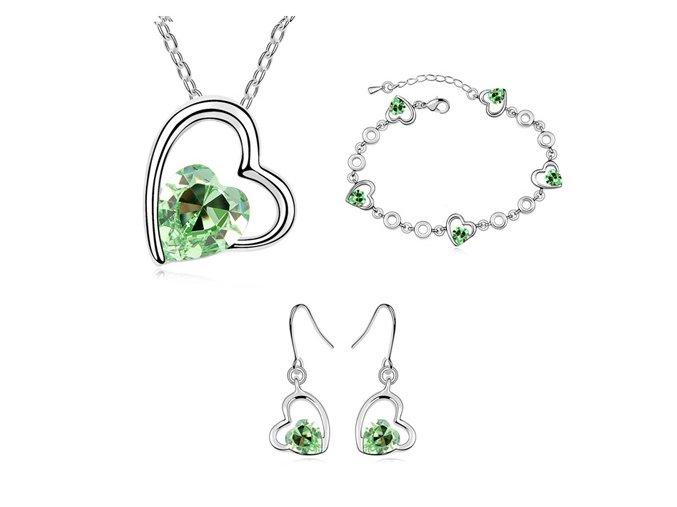 Náhrdelník, náušnice a náramok s kryštálmi zelená farba