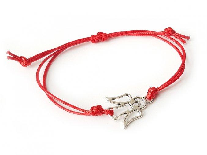 Červený ochranný náramok s anjelom