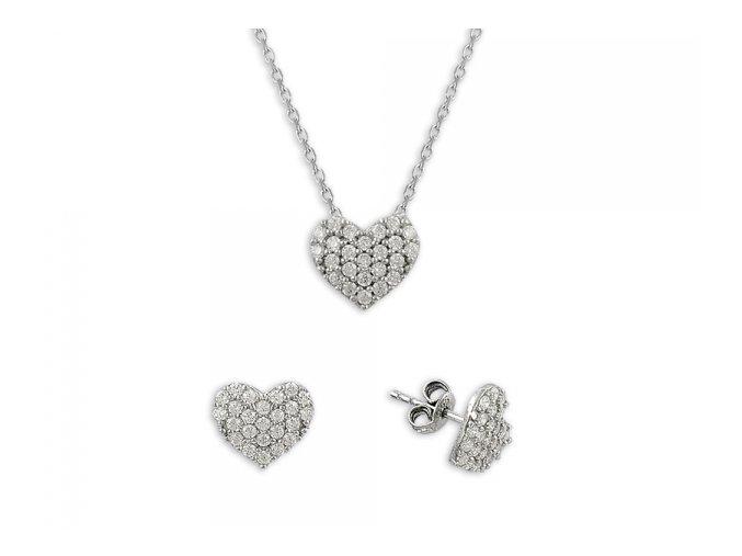 Strieborná súprava šperkov v tvare srdca