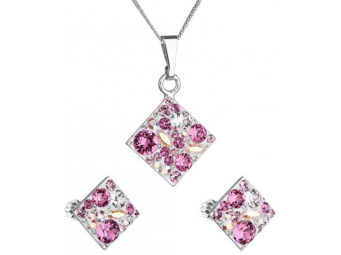 Súprava šperkov so Swarovski Crystals - kosoštvorec ružový