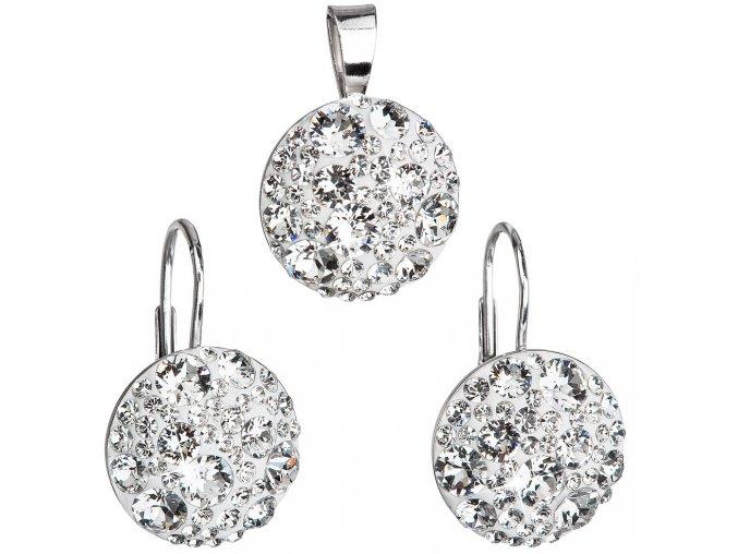 Súprava šperkov s kryštálmi Swarovski - biele a okrúhle