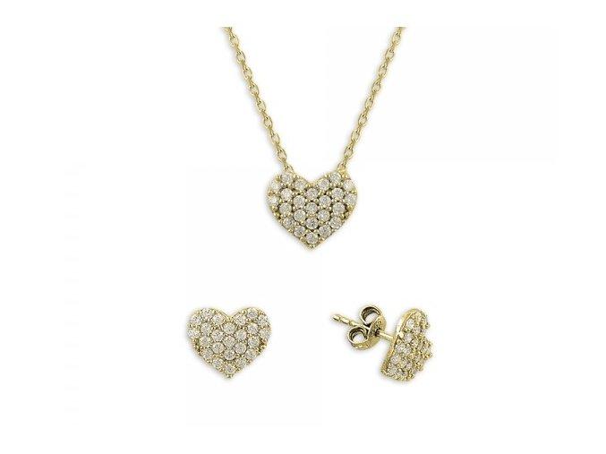Strieborná súprava šperkov v tvare srdca - pozlátená