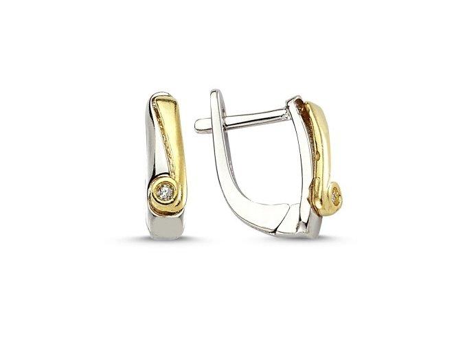 Elegantné dámske náušnice zlato-striebornej farby