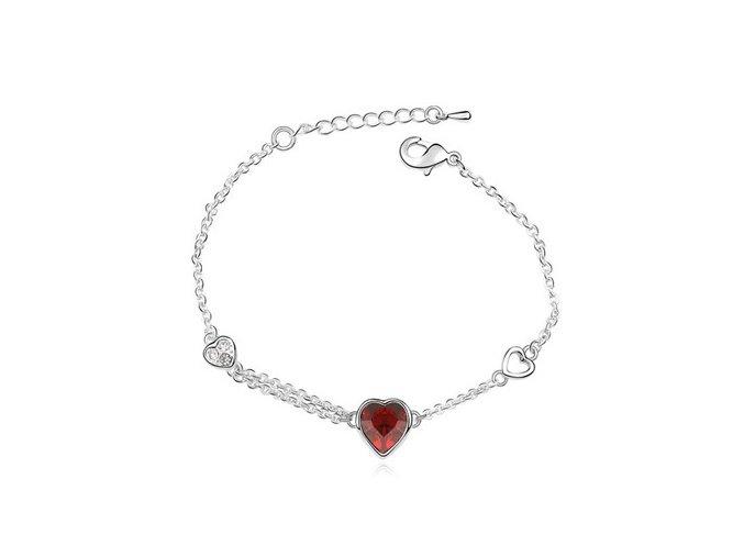 Dámsky náramok s krištáľmi v tvare srdca