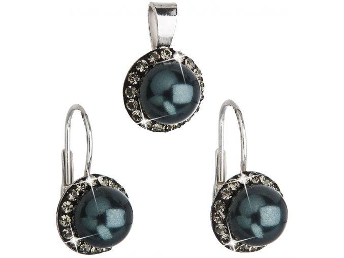 Súprava šperkov s kryštálmi Swarovski a tmavou perlou