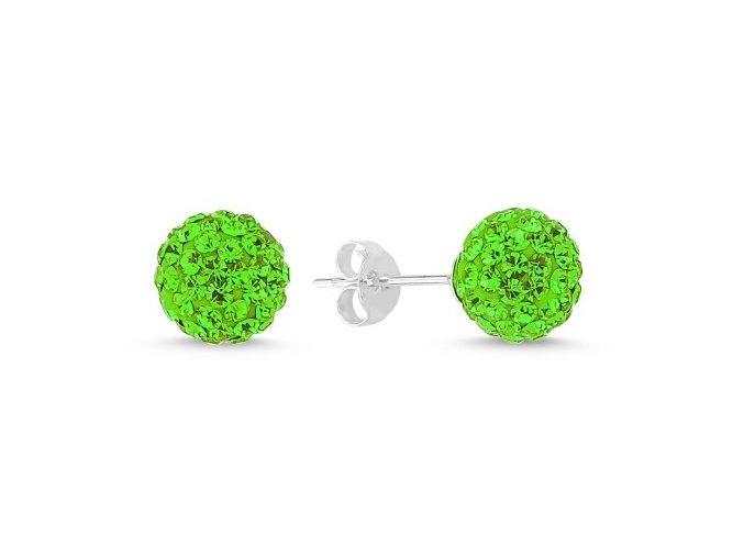 Strieborné náušnice guličky so zirkónmi - zelené