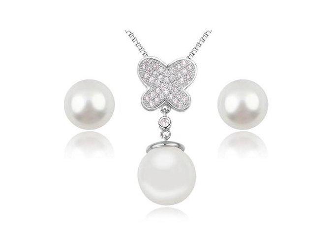Náušnice a prívesok s perlou 2320