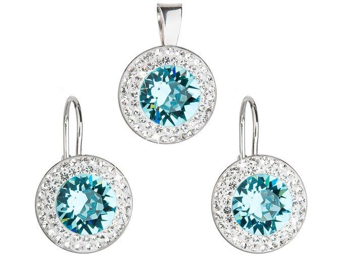 Súprava šperkov s krištáľmi Swarovski - modré, guľaté