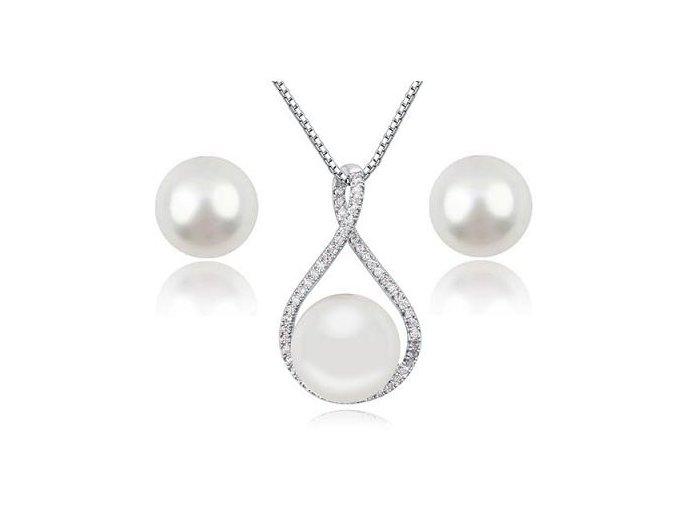 Náušnice a prívesok so synt. perlou