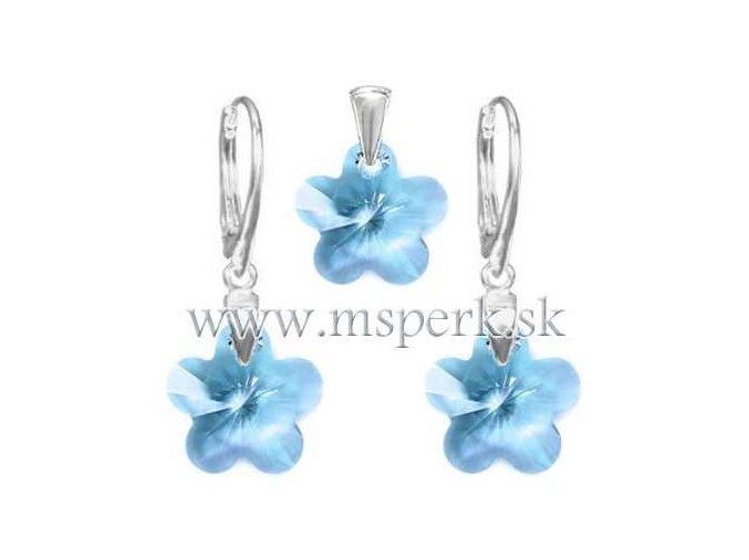 Exkluzívny set SWI crystal v tvare kvietku modrá farba