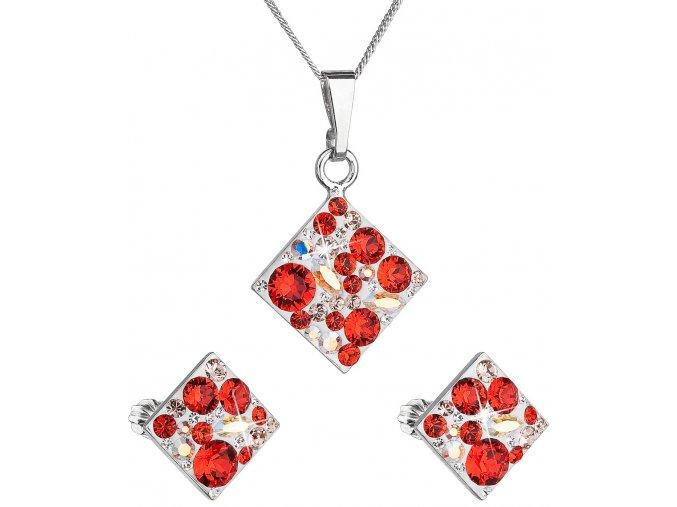 Súprava šperkov so Swarovski Crystals - kosoštvorec červená farba