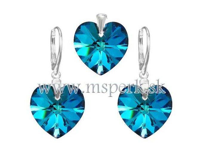 Exkluzívny set SWI crystal v tvare srdca modrá farba