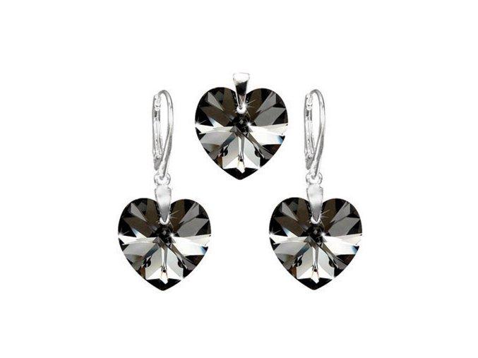 Exkluzívny set SWI crystal v tvare srdca čierna farba