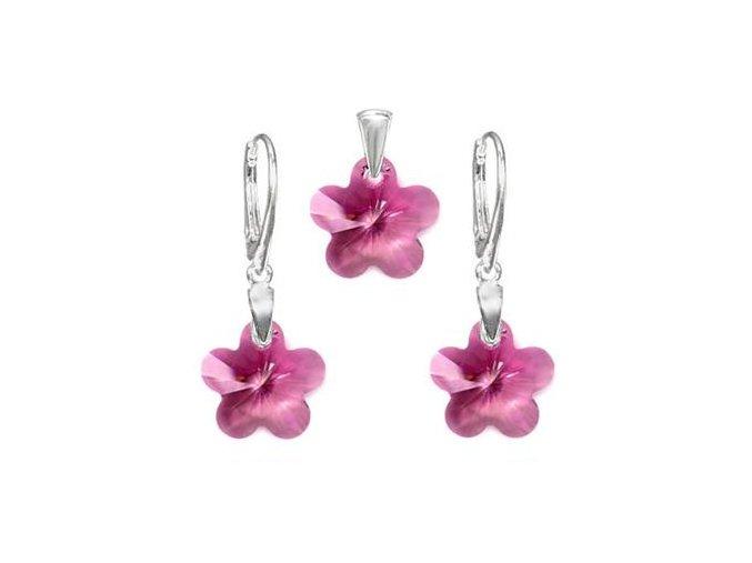 Exkluzívny set SWI crystal v tvare kvietku ružová farba