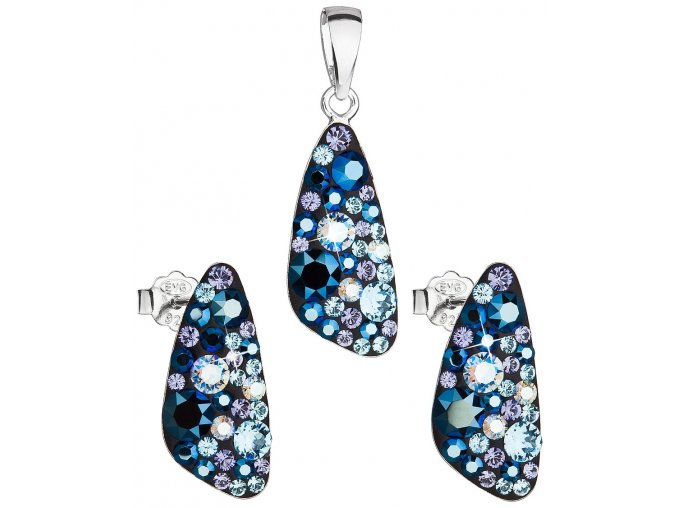 Dámska súprava šperkov so Swarovski Crystals - Blue Style modrá farba