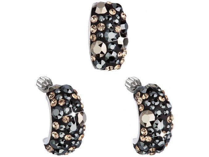 Súprava šperkov so Swarovski Crystals náušnice a prívesok - Elegant čierna farba