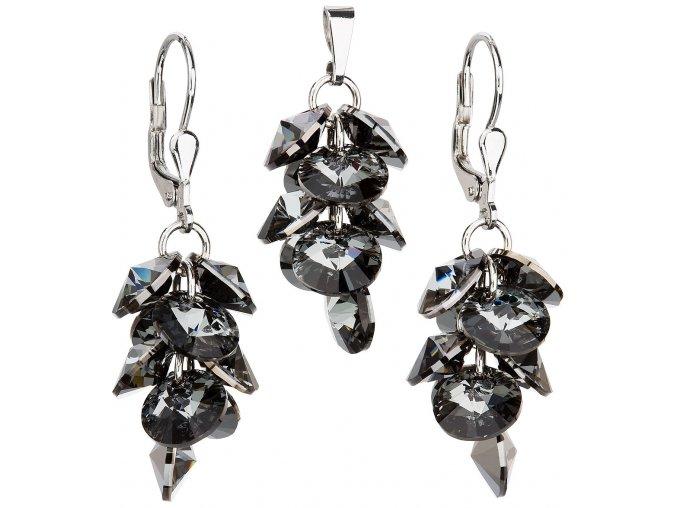 Súprava šperkov náušnice a prívesok so Swarovski Crystals strapcový model čierna farba
